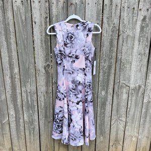 Calvin Klein Scuba Floral Fit & Flare Dress Size 2